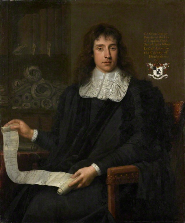 George Jeffreys, 1st Baron Jeffreys of Wem  John Michael Wright, 1673 oil on canvas, 1673 47 3/4 in. x 39 3/4 in. oil on canvas 48 x 40 in Purchased, 1989 NPG 6047 NPG 6047 © National Portrait Gallery, London by Creative Commons license