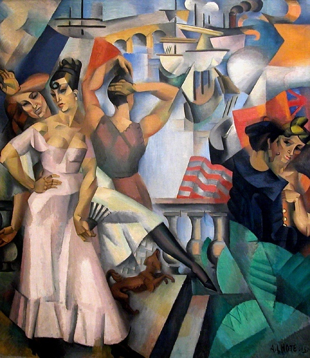 L'Escale André Lhote, 1913, oil on canvas, 84 x 74 in, Musée d'Art Moderne de la Ville de Paris public domain in the US from Wikipedia