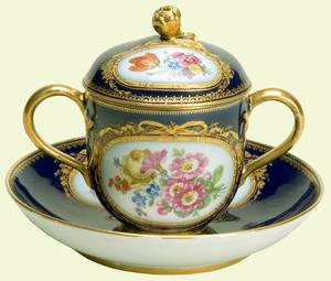Meissen porcelain chocolate pot, cover and stand, c.1780, A Royal Wedding gift to Queen Elizabeth II, 1947 The Royal Collection © 2008, Her Majesty Queen Elizabeth II RCIN 19102