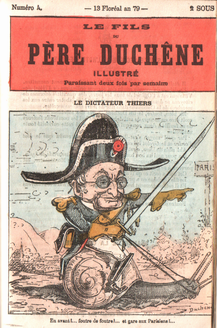 President Thiers Newpaper cover Le Fils  du Pere Duchene Illustre May 3, 1871 from Wikimedia Commons