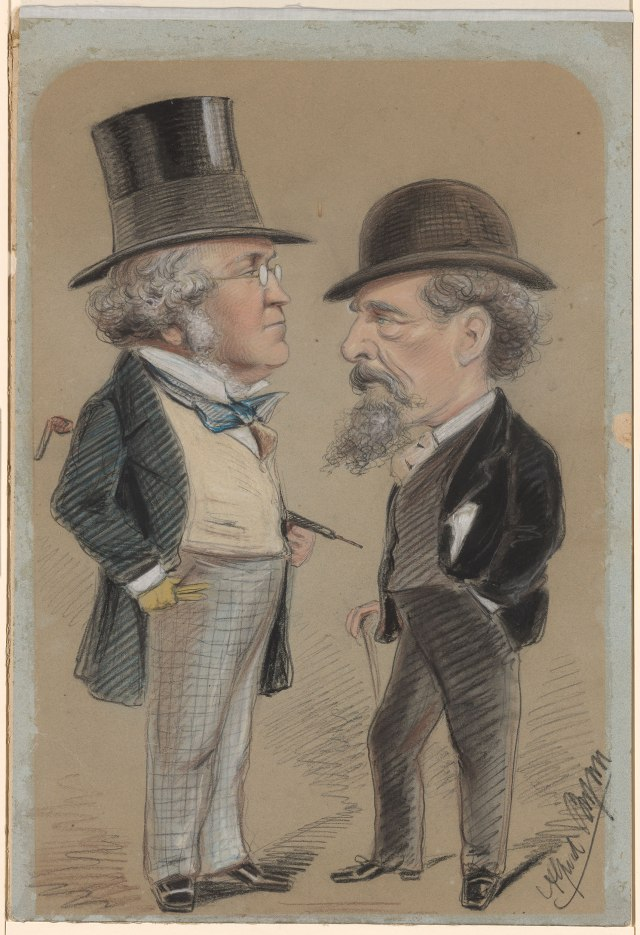 Caricature of William Makepeace Thackeray and Charles Dickens Alfred Bryan (1852-1899) Charcoal and colored chalks, on blue paper, now faded, mounted on cardboard. 21 3/4 x 14 13/16 in The Morgan Library, New York