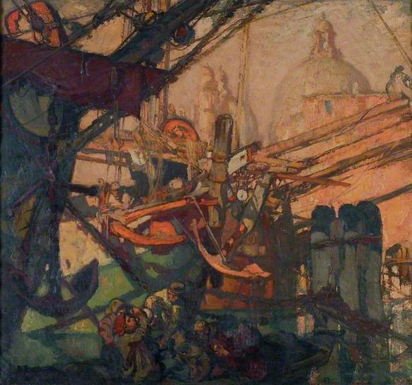 Santa Maria della Salute, Venice Frank Brangwyn, 1906, repainted 1933 oil on canvas, 59 x 64 in Ferens Art Gallery Kingston upon Hull, East Riding of Yorkshire, England photo BBC Your Paintings