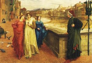 Dante and Beatrice Henry Holliday, 1893 oil on canvas, 55 x 78 Walker Gallery of Art photo public domain from Wikimedia Commons