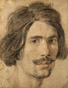 Self-Portrain Gian Lorenzo Bernini, ~1635 black and red chalk, heightened with white chalk, 11 x 9 in The Ashmoean Museum, Oxford photo in public domain from Wikimedia Commons