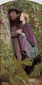 The Long Engagement Arthur Hughes, 1859 oil on canvas, 42 x 21 in Birmingham City Art Gallery, Birmingham, England photo in public domain from Wikimedia.org