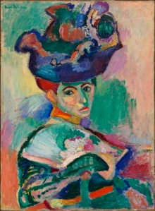 Woman with a Hat Henri Matisse, 1905 oil on canvas, 31 x 24 in San Francisco Museum of Art,  ©Succession H. Matisse, Paris / Artist Rights Society (ARS), New York.[1] photo from Wikipedia.org, public domain in US