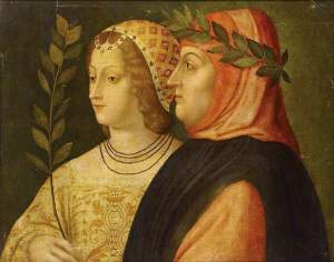 Petrarch and Laura de Noves Venetian School, ~1510 oil on canvas 22 x 28 in photo credit: The Ashmolean Museum of Art and Archaeology from BBC Your Paintings