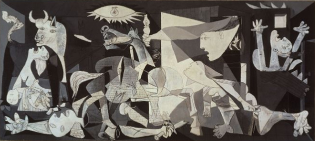 Guernica Pablo Picasso, 1937 oil on canvas, 140 x 310 in Museo Reina Sofia, Madrin image from Wikipedia. org presumed under copyright, see Wikipedia for non-free media rationale