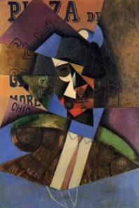 The Bull Fighter Juan Gris, 1913 oil on canvas, 36 X 24 in private collection photo in public domain from The Athenaeum.org