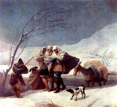 Winter or The Snowstorm Francisco Goya, 1787 oil on canvas, 110 x 117 in Museo del Prado, Madrid photo public domain  from WikiArt.org