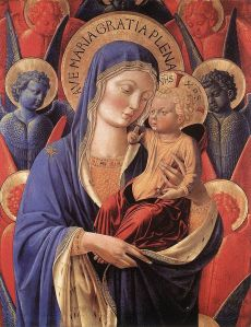 Maddona and Child Benozzo Gozzoli, ~1460 tempera on panel, 33 x 20  in Detroit Institute of Art photo public domain from Wikimedia Commons