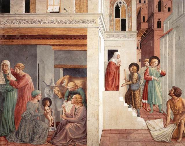 Scenes from the Life of St. Francis Benozzo Gozzolli, 1452 fresco Church of St. Francis Montefalco, Umbria photo public domain from Wikimedia.org