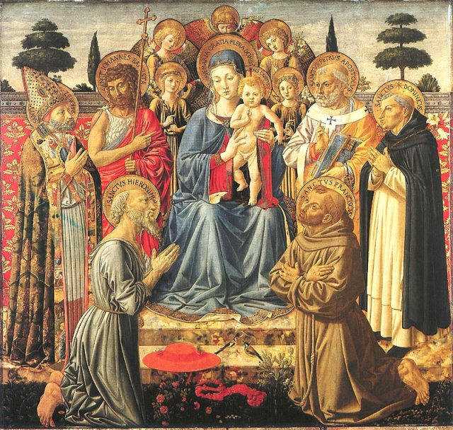 The Madonna and Child with Angels attributed to Benozzo Gozzoli, 1447-1450 Egg tempera on wood, 12 x 9 in National Gallery, London photo from c asa-in-italia.com