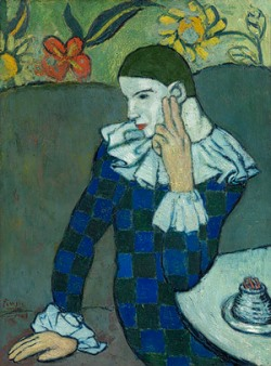 Seated Harlequin Pablo Picasso, 1901 Oil on canvas, lined and mounted to a sheet of pressed cork; 32 3/4 x 24 1/8 in The Metropolitan Museum, New York © 2011 Estate of Pablo Picasso / Artists Rights Society (ARS), New York