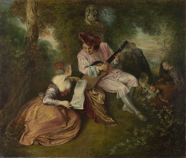 The Scale of Love Jean-Antoine Watteau 1715-1718 The National Gallery, London oil on canvas, 20 x 23 in photo public domain from Wikimedia Commons
