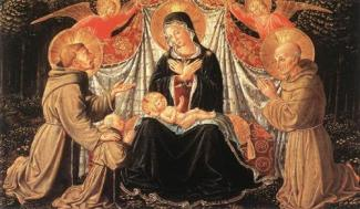Madonna and Child with St. Francis and the donor Fra Jacopo da Montefalco and St. Bernardino of Siena  Benozzo Gozzoli, 1452 oil on panel, 13 x 22 in Kunsthistorisches Museum, Vienna, Austria photo public domain from WikiArt.org