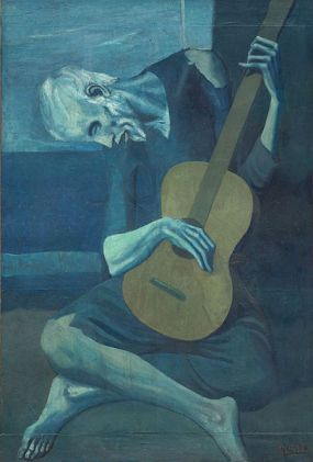 The Old Guitarist Pablo Picasso, 1903-1904 oil on panel, 48 x 32 in  The Art Institute of Chicago © 2014 Estate of Pablo Picasso / Artists Rights Society (ARS), New York photo public domain is US from Wikipedia