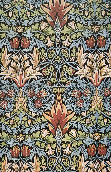 Snakeshead printed cotton designed by William Morris (1876). (Identification from Linda Parry: William Morris Textiles, New York, Viking Press, 1983, p. 150) digitally enhanced photo in public domain from Planet Art CD of royalty-free PD images William Morris: Selected Works via Wikimedia Commons