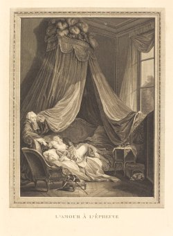 L'amour a l'epreuve, Jacques-Firmin Beauvarlet after Pierre-Antoine Baudouin engraving Courtesy of the National Gallery of Art, The Widener Collection
