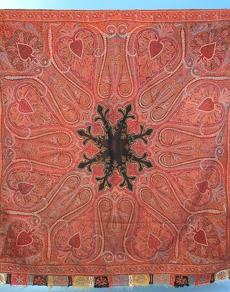 Hand Twill Tapestry Kashmiri Shawl ~ 1860 72 in square formerly for sale at http://carolynforbestextiles.com/