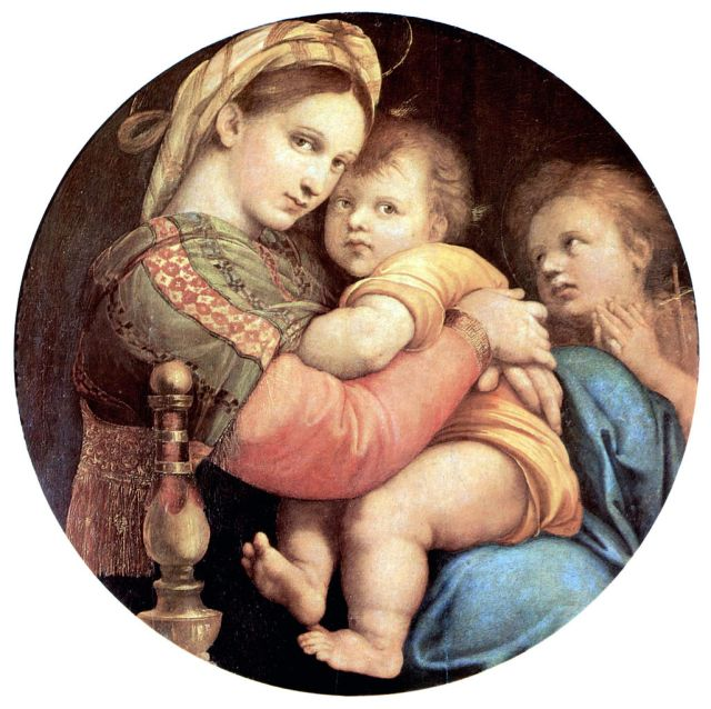Madonna della Sedia Raphael, 1513-1514 oil on panel, circle diameter  28 in. Pitti Palace, Florence photo in public domain from Wikimedia Commons