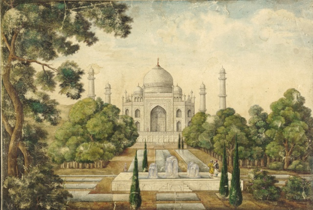 The Taj Mahal Mughal, 19th century watercolor on paper 8 x 12 in Freer/Sackler Gallery, The Smithsonian