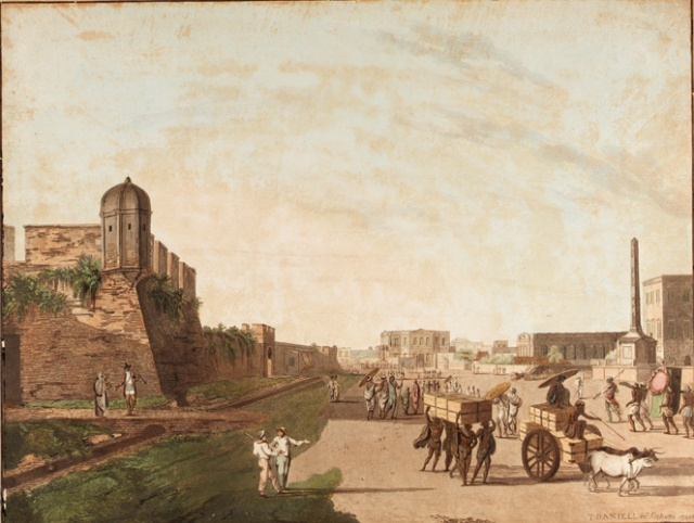 "The Old Fort, the Playhouse, Holwell's Monument from Views of Calcutta Thomas Daniell, 1786 Aquatint, ink on paper 18 x 23"" photo public domain from Wikimedia Commnos"