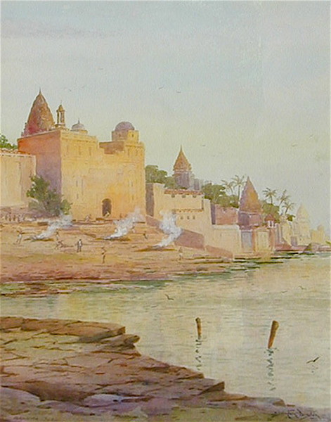 The City of Benares James Diston, ~1890 watercolor, 26 x 19 in for sale (12/19/14) at http://www.onlinegalleries.com/