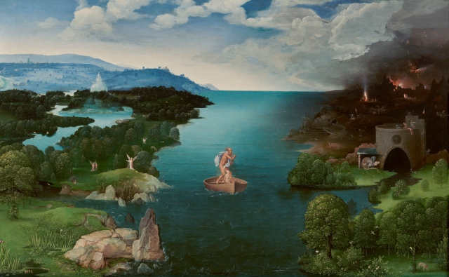 Charon Crossing the Styx Joachim Patinir,  oil on panel, 25 x 41 in Museo Nacional del Prado photo from public domain from Wikimedia Commons
