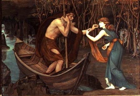 Charon and Psyche John Roddam Spencer Stanhope, 1883 oil on canvas, 38 x 55 in private collection photo from preraphaelitepaintings.blogspot.com (There is controvery about whether the photo is flipped horizontally.)