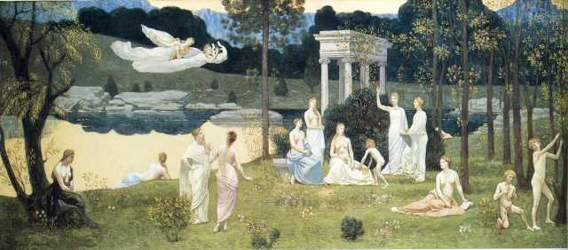 The Sacred Wood Cherished by the Arts and the Muses Puvis de Chavannes, 1884-1889 oil on canvas, 36 x 91 in. The Art Institute of Chicago photo in public domain from Wikiart.org