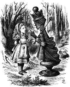 The Red Queen Lecturing Alice John Tenniel, 1871 illustration for Through The Looking Glass by Lewis Carroll fromoldbooks.org via Wikipedia.org