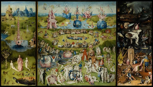 The Garden of Earthly Delights Hieronymous  Bosch ~1490-1510 oil on oak panels, 88 x 175 in The Prado, Madrid photo in public domain from Wikimedia.org