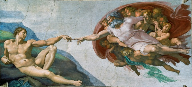 The Creation of Adam Michelangelo, 1511-12 fresco, 189 x 91 in Ceiling of the Sistine Chapel, The Vatican photo in public domain for Wikimedia.org