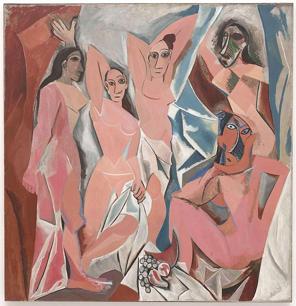 Les Demoiselles d'Avignon Pablo Picasso, 1907 oil on canvas, 98 x 93 in The Museum of Modern Art, New York photo in public domain in US from Wikipedia.org but under copyright in France