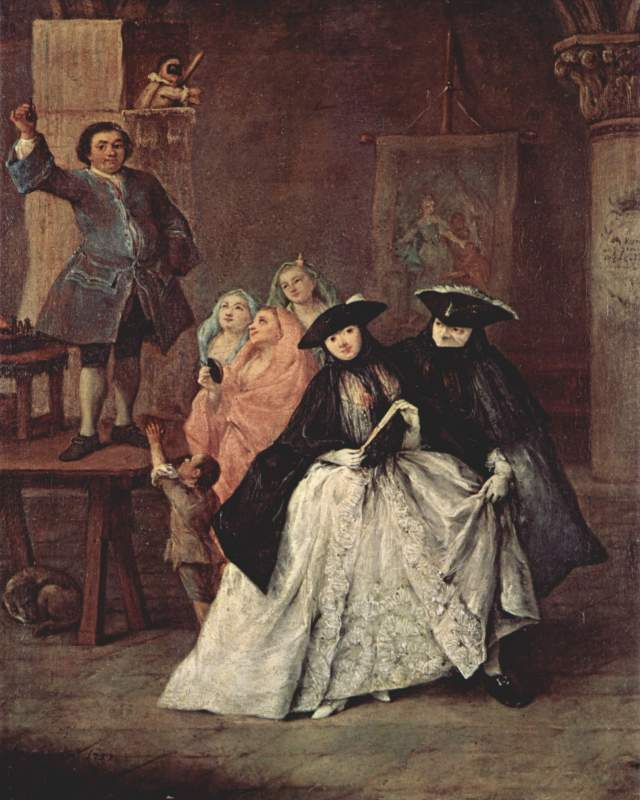 The Charlatan Pietro Longhi, 1757 oil on canvas, 24 x 20 in Ca' Rezzonico, Venice photo in public domain from the Yorck project via Wikimedia.org