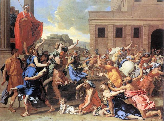 The Rape of the  Sabine Women Nicolas Poussin, 1637-8 oil on canvas,  Louvre Museum photo in public domain from Wikimedia.org