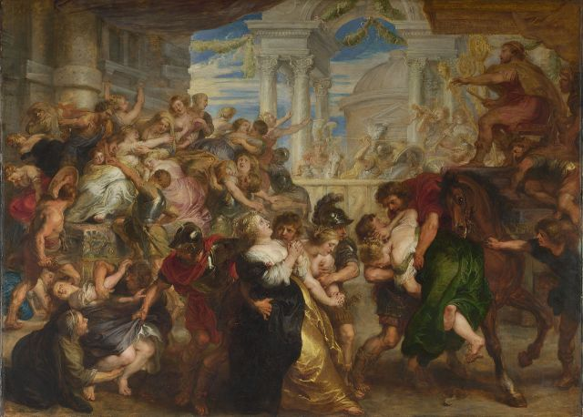 Rape of the Sabine Women Peter Paul Rubens, 1635-7 oil on panel, 67 x 93 in National Gallery, London photo in public domain form Wikimedia.org via Web Gallery of Art