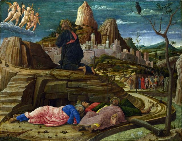 The Agony in the Garden (right panel of the predella of the San Zeno Altarpiece, 1455) Andrea Mantegna, 1458-1460 tempera on panel, 25 x 32 in National Gallery, London photon in public domain from the Yorck project via Wikimedia.org.