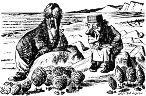 The Walrus and the Carpenter Sir John Tenniel, 1871 Illustration for Lewis Carroll Alice in Wonderland photo in public domain via Wikimedia.org