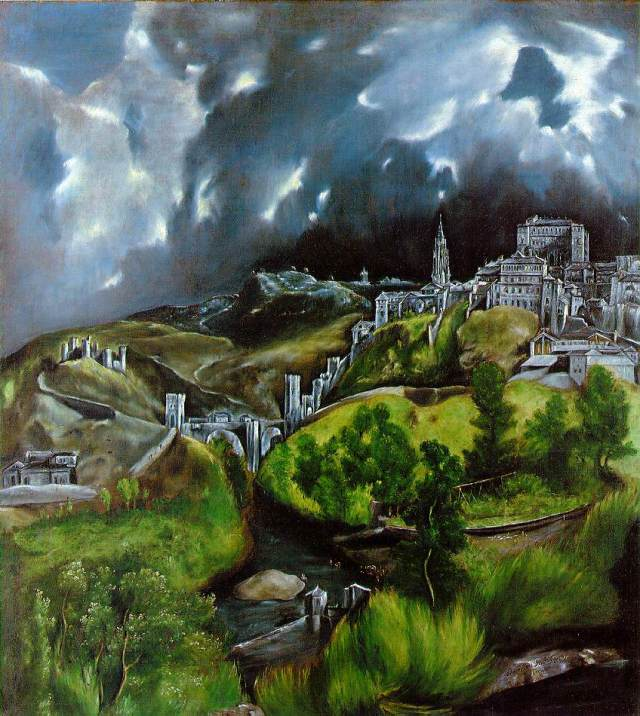View of Toledo El Greco (1596-1600) oil on canvas, 19 x 17 in Metropolitan Museum of Art photo in public domain from Wikipedia.org