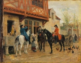 The Halt at the Inn Jean-Louis Ernest Meissonier - circa 1862-1863 oil on panel, 8 x 10 in The Wallace Collection photo in the public domain from the Athenaeum.org