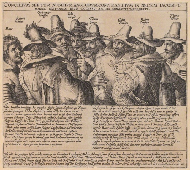 The Gunpowder Plot Crispijn de Passe the Elder, engraving, circa 1605 from the National Portrait Gallery with permission by Creative Commons license