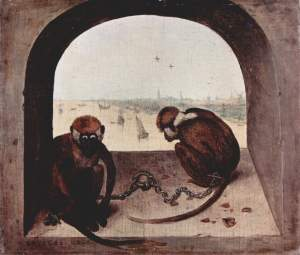 TwoChained Monkeys Pieter Bruegel the Elder, 1563 oil on oak, 8 x 9 in Gemäldegalerie, Berlin photo in public domain from Wikimedia.org