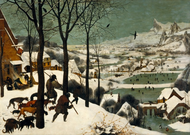 Two Hunters in the Snow Pieter Bruegel the Elder 54 x 39 ft  Kunsthistorisches Museum Vienna public domain from Wikimedia.org via the Google Art Project