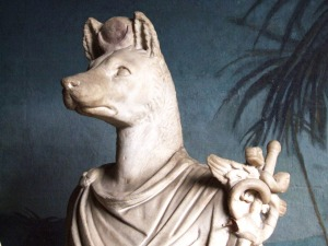 "Anubis white marble, height 62"" 1st-2nd century AD From Anzio, Villa Pamphili Vatican Museum, Rome photo from Wikimedia Commons by Creative Commons GNU license"