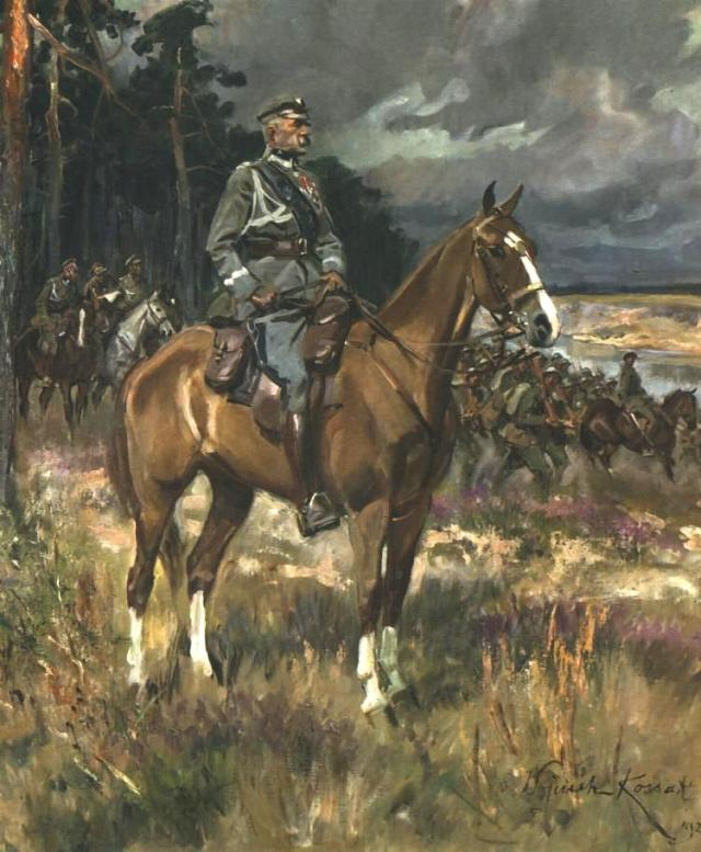 Piłsudski on Horseback Wojciech Kossak, 1928 oil on canvas, 43 x 36 in National Museum, Warsaw photo in public domain from Wikimedia Commons, source http://artyzm.com/e_obraz.php?id=1616