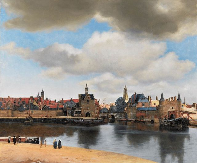 View of Delft Johannes Vermeer, 1660-1 oil on canvas, 38 x 46 in Royal Picture Gallery Mauritshuis, The Hague photo in public domain from Wikimedia Commons