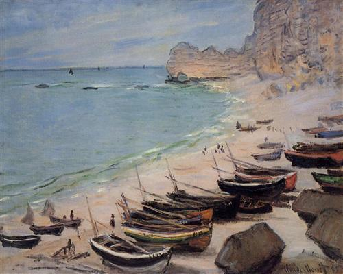 Boats on the Beach at Etretat Claude Monet, 1883 oil on canvas private collectdion photo in public domain from WikiArt.org