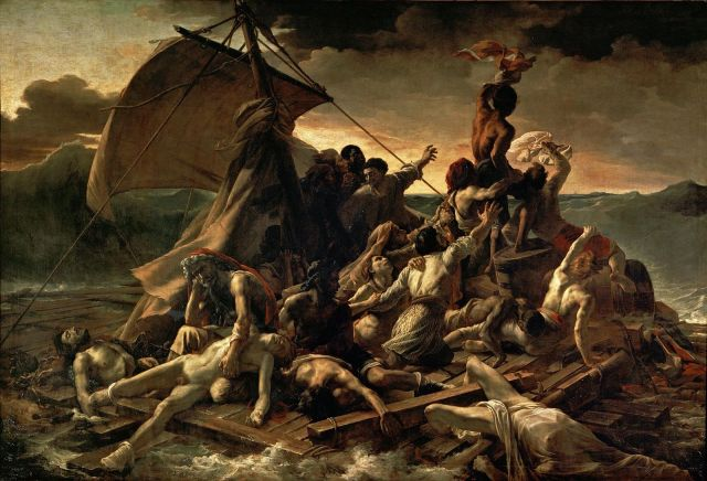 The Raft of Medusa Jean Louis Theodore Gericault, 1818-9 oil on canvas, 193 x 282 in Louvre Museum photo in public domain from Wikimedia Commons